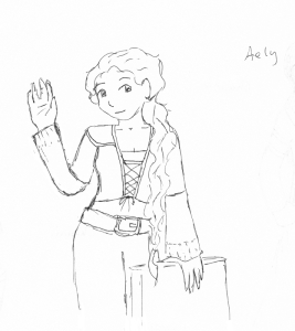 A sketch of Aely standing by a chair