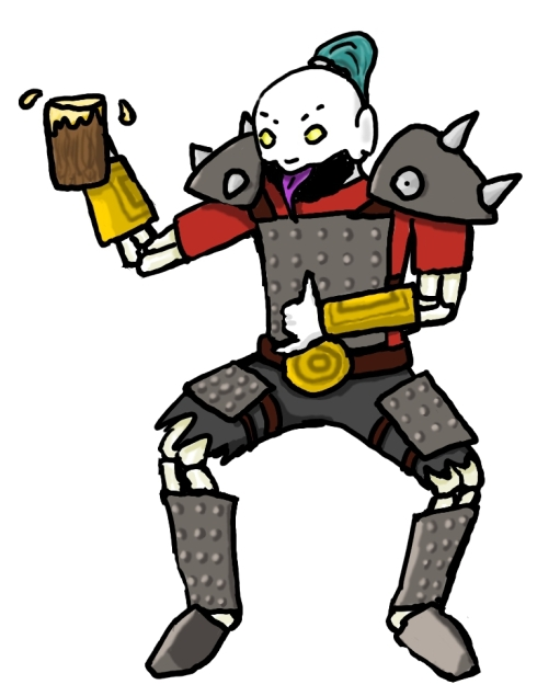 Drawing of an undead warrior drinking beer.