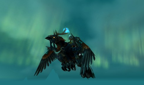 Mishaweha riding on a hippogryph.
