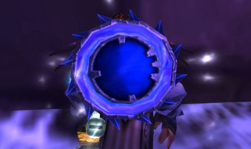 Mishaweha shows her blue swirling shield.