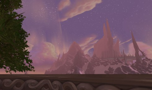 A silhouette of Icecrown, from Dalaran.