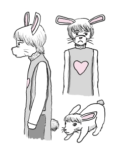 Three images of a rabbit-person, facing forward, profile, and in rabbit form.