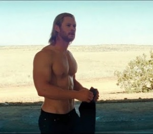 Chris Hemsworth as Thor, Shirtless
