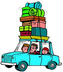 A cartoon of a family in a car with lots of luggage on top of the car.