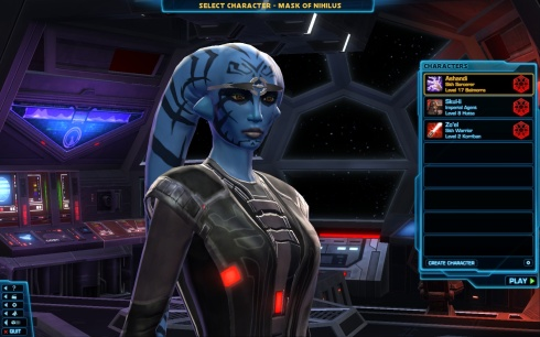 Star Wars Mask of Nihilus Character Loading Screen with Ashandi