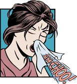 A cartoon of a woman sneezing.